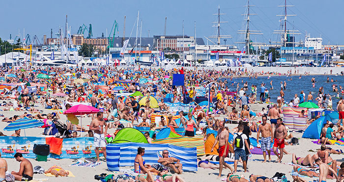 Lots of people on a beach in Poland